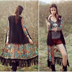 🆕RARE! BoHo Duster, Hand Embroidered with Fringe